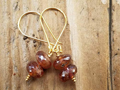 Hessonite Garnet Earrings - Mystic Hessonite Garnet and 24k Gold Vermeil Earrings