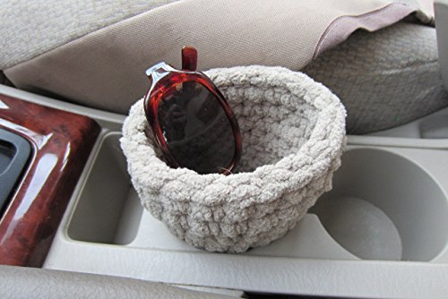 (Car Sunglasses or Universal Cell Phone Caddy, fits into the Cup Holder - Beige & Many Color Choices )