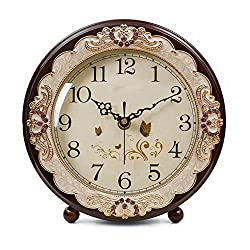 JUSTUP Vintage Table Clock, Retro Non-Ticking European Style Beside Mantle Desk Clock Battery Operated Silent Quartz Movement for Bedroom Living Room Indoor Decor (Brown)