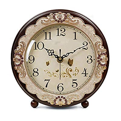 JUSTUP Vintage Table Clock, Retro Non-Ticking European Style Beside Mantle Desk Clock Battery Operated Silent Quartz Movement for Bedroom Living Room Indoor Decor (Brown) - SUPER QUIET: Silent, non-ticking sweep movement ensures a good sleep and best working environment and precise time. BEAUTIFULLY DESIGNED: The vintage European style table clock looks elegant and Exquisite. It's great for living room, Bedroom, Classroom, Library, Office, Home and etc.It 's also a perfect gift. BATTERY OPERATED: Powered by 1*AA Carbon Zinc battery(not included) - clocks, bedroom-decor, bedroom - 51Tjkirp1yL. SS400  -