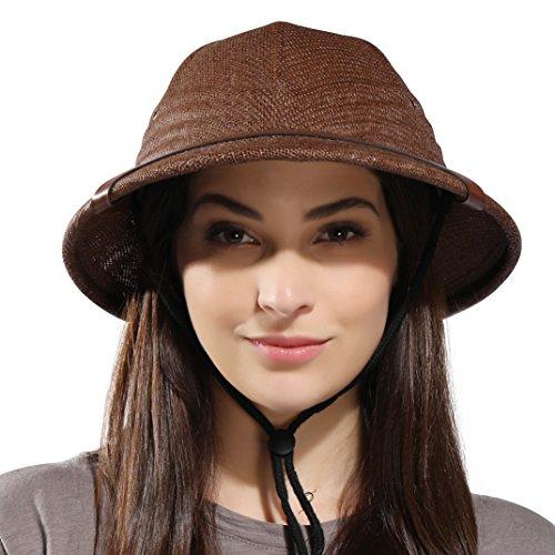 kainozoic Pith Helmet Costume Party Hat Tan Natural Women Men Pithe Helmet Gardening Hiking Jungle Explore -