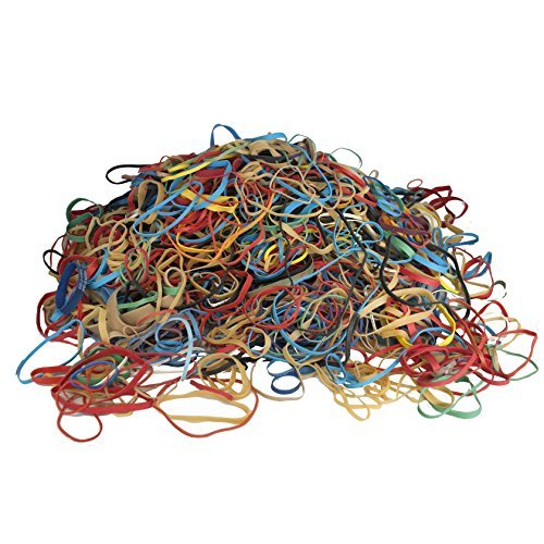 Alliance Rubber Bands, Assorted Large, Medium, Small Sizes & Thickness, Assorted Colored Elastic Bands (2 Pounds) ()