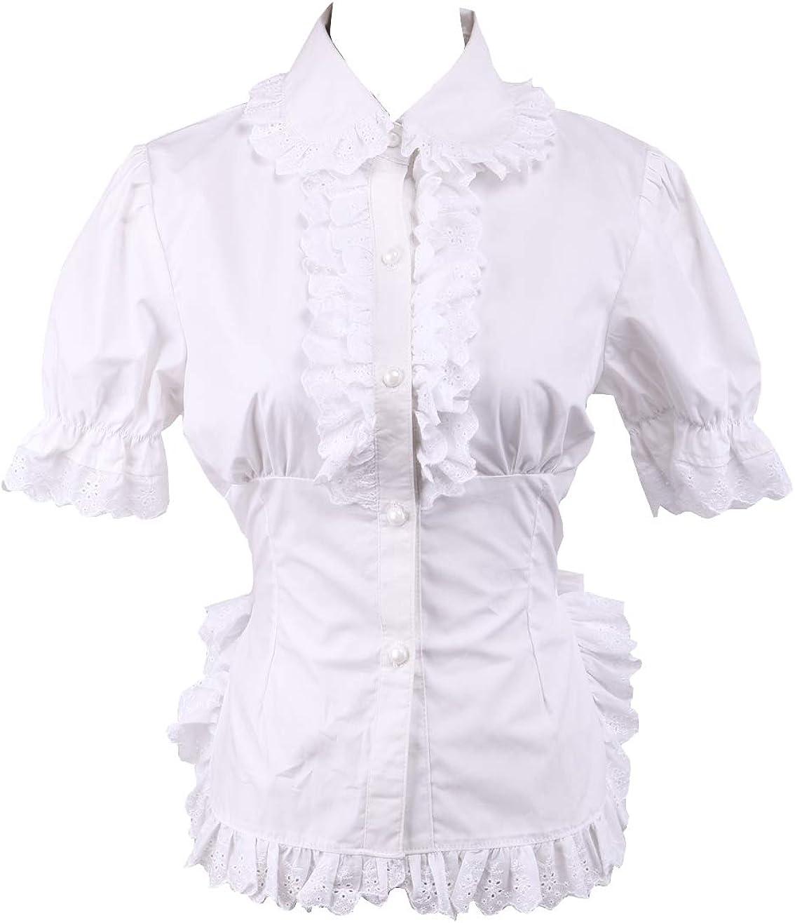 Blanca Algodón Volantes Encaje Victoriana Kawaii Manga de Soplo Lolita Camisa Blusa de Mujer: Amazon.es: Ropa y accesorios