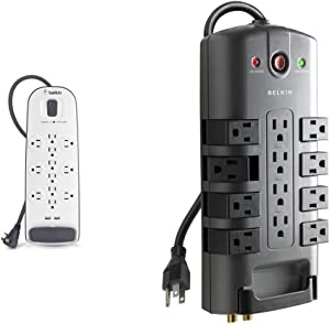 Belkin 12-Outlet USB Power Strip Surge Protector, Flat Plug, 6ft Cord (3,996 Joules), White & 12-Outlet Pivot-Plug Power Strip Surge Protector, 8ft Cord(4,320 Joules)