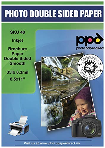 - PPD Inkjet Matte Double Sided Ultra Smooth Brochure Paper LTR 8.5x11'' 35lbs. 130gsm 6.3mil x 100 sheets (PPD040-100)