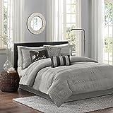 Madison Park Hampton 7 Piece Comforter Set, King, Grey