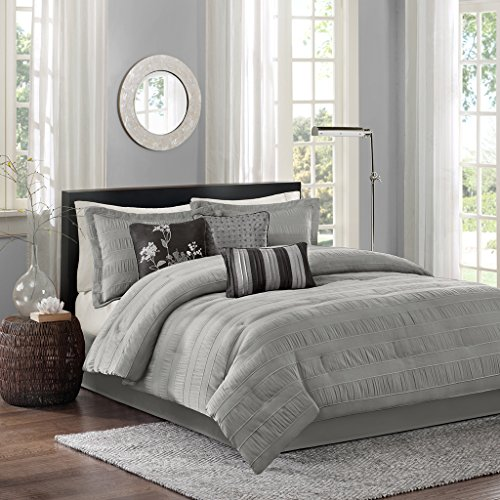 Madison Park Hampton Cal King Size Bed Comforter Set Bed In A Bag - Grey, Jacquard Pleated Stripes – 7 Pieces Bedding Sets – Ultra Soft Microfiber Bedroom - Bedroom Contemporary King Set California