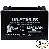 5-Pack Replacement 2011 Honda EU3000 Factory Activated, Maintenance Free, Tractor / Generator Battery - 12V, 8Ah, UB-YTX9-BS