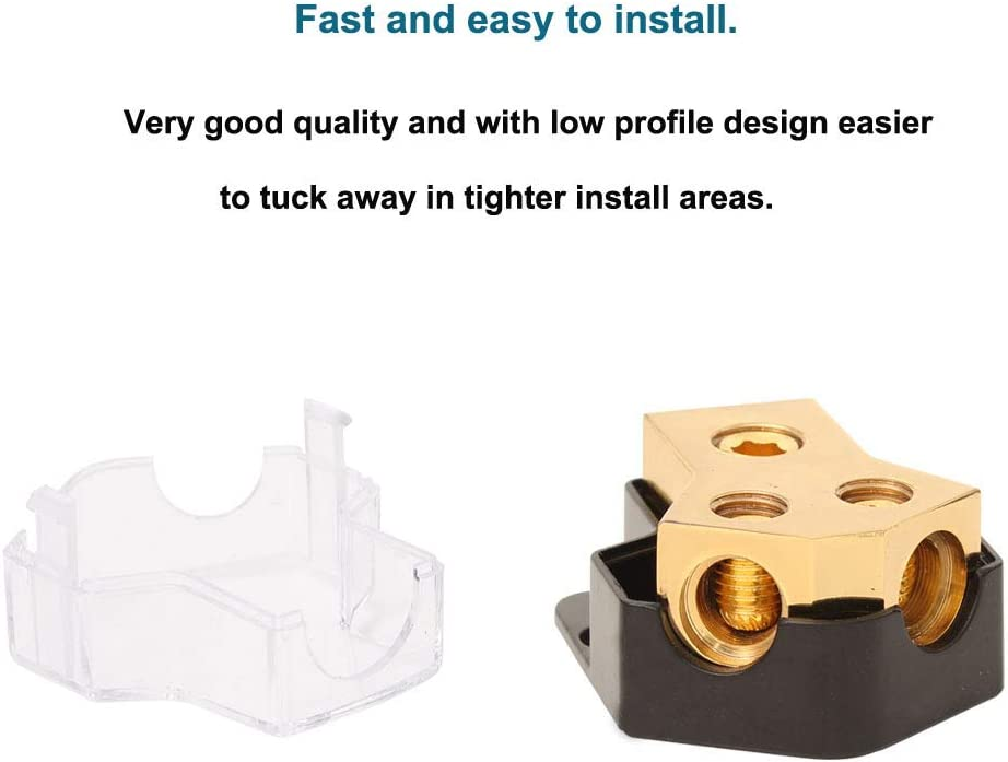 Amp Copper Audio Power Distribution Block 0 Gauge AWG in 4 Gauge AWG 2 Way Out for Audio Splitter Ground Distribution Connecting Block