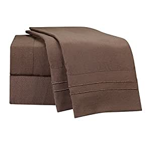 Clara Clark Supreme 1500 Collection 4pc Bed Sheet Set - King Size, Chocolate Brown