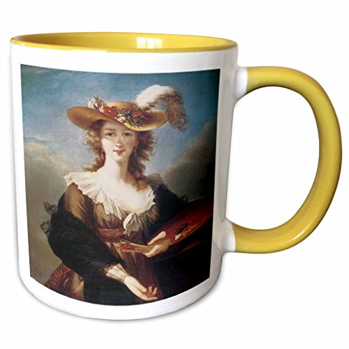 (3dRose BLN Portraits of Women Through Time Fine Art Collection - Self-Portrait by Marie Louise Elisabeth Vigee-Lebrun - 15oz Two-Tone Yellow Mug (mug_149580_13))
