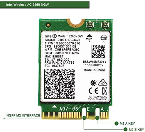 Bluetooth 5.0- Intel Wireless-AC 9560 NGW NGFF M2 2230 Wi-Fi Card-2.4GHz 300Mbps or 5GHz 1733Mbps CNVi Wireless Network Adapter for Windows 10 64bit,Linux Kernels 4.14+ PCs 160MHz