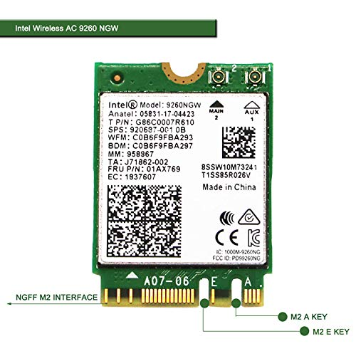 Wireless Network Adapter for Laptop and Desktop PCs-NGFF M2 2230 Wi-Fi Card-2.4GHz 300Mbps or 5GHz 1733Mbps(160MHz) Bluetooth 5.0-Dual Band Wireless Bluetooth Adapter Intel Wireless-AC 9260 NGW