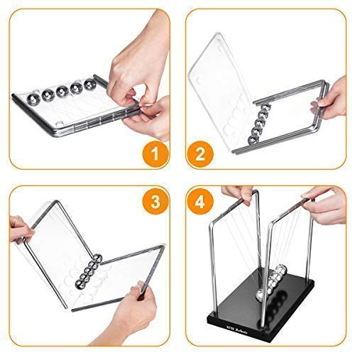 XCH Robots, Desk Toys For Office For Adults, Newtons Cradle, 5 Pendulumball Big Newtons Cradle Balance, Metal Balls For Office Toys, Physics Toys, Teacher Toys, Steel Ball Toy by XCH Robots (Image #8)