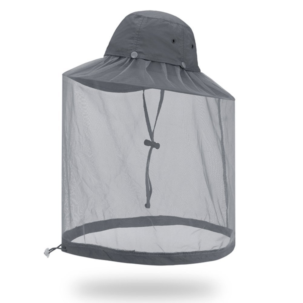 Mosquito Head Net Hat, Hat Sun Hat Bucket Hat with Hidden Net Mesh Protection from Insect for Outdoor,Green 112233