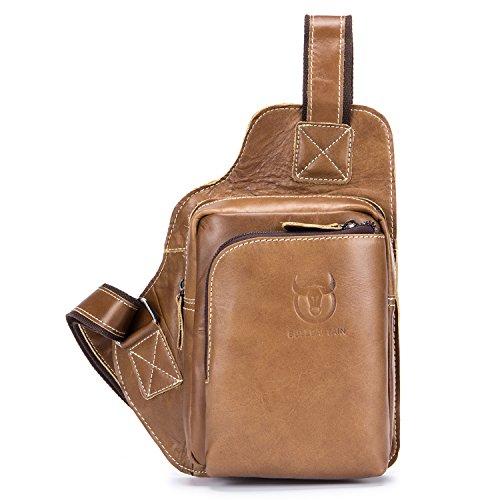f21e13f6f6b4 BULL CAPTAIN Men Bags Shoulder Leather Sling Bag Cross Body Bag Chest Bag  Pack Sling Shoulder Backpack for Traveling XB-013 - Buy Online in Oman.