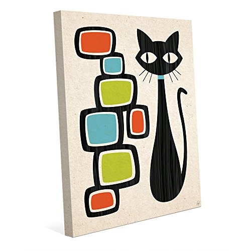 Retro Cat With Bubbles Orange Green And Blue: Mid-Century Retro Modern Postmodern Geometric Shapes Abstract Painting Drawing Illustration Wall Art Print on (Blue Retro Cat)
