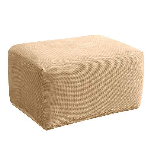 (SureFit Stretch Pique Oversized Ottoman Slipcover, Cream)
