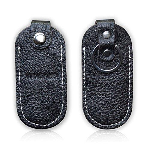 Cowhide Genuine Leather USB Flash Drive Case Holder with Key Chain (Usb Flash Drive Holder)