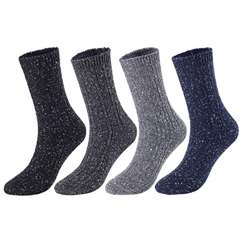 Lian LifeStyle Women's 4 Pairs Pack Fashion Soft Cotton Crew Socks Size 6-9 HR1614-4P4C-02(Black, Dark Grey, Grey, Navy) ()