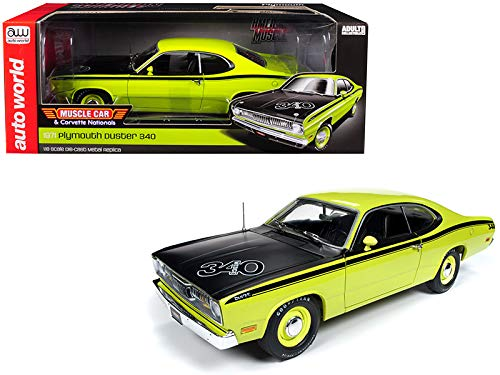1971 Plymouth Duster 340 Hardtop Green with Black Hood MCACN Limited Edition to 1,002 Pieces Worldwide 1/18 Diecast Model Car by Autoworld AMM1154