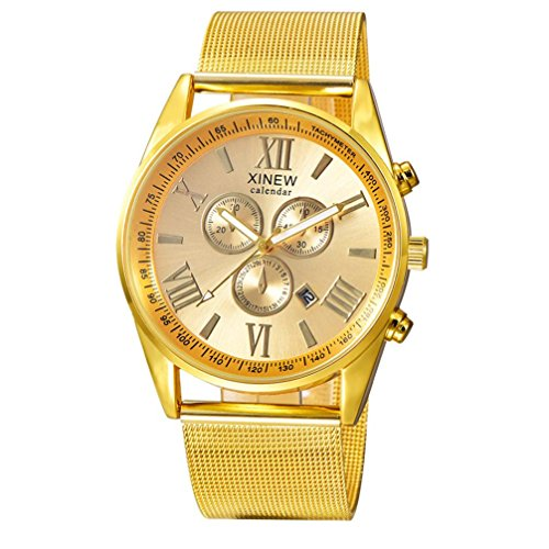 NOMENI Men's Multifunction Day Date Analog Quartz Stainless Steel Mesh Wrist Watch (Gold) from NOMENI