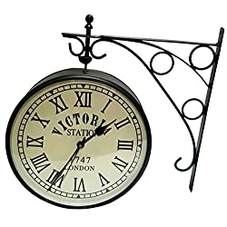 Global Art World Vintage Style Victoria Station 6 Black Double-Face Home Décor Wall Clock WC 03