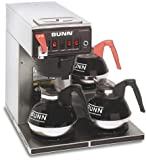 Bunn 12 Cup Dual Voltage Coffee Brewer with 3 Warmers -CWTF-DV-3-0409