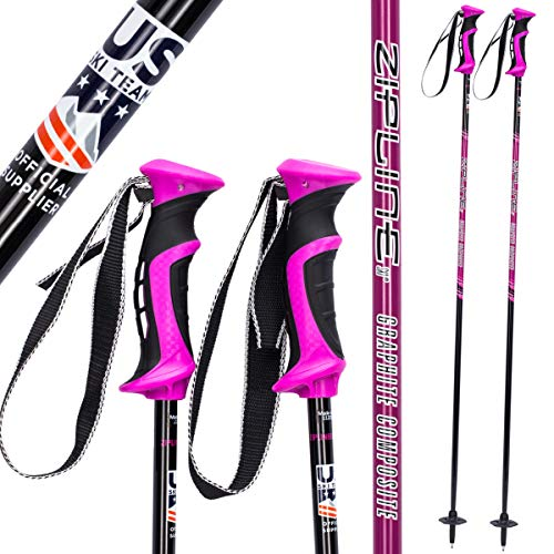 Zipline Ski Poles Carbon Composite Graphite Lollipop U.S. Ski Team Official Ski Pole - Choose Color and Size (Grape, 46 in. / 117 cm)