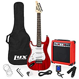 LyxPro Left Hand 36 Inch Electric Guitar and Kit for Lefty Kids with 3/4 Size Beginner's Guitar, Amp, Six Strings, Two…