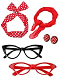 Satinior Women 50's Costume Accessories Set Girl Scarf Headband Earrings Cat Eye Glasses for Party (Color Set 2)