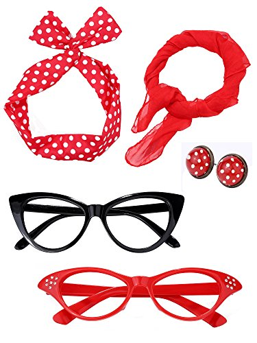 (Satinior Women 50's Costume Accessories Set Girl Scarf Headband Earrings Cat Eye Glasses for Party (Color Set)