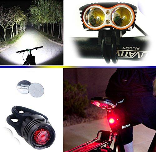 Linterna LáMPARA para Bicicletas Bici CREE XM-L U2 – Luz LED Frontal para Manillar de Bicicleta (2 focos, 5000 Lumens, 4…
