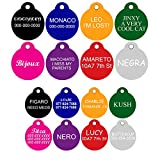 CNATTAGS Pet ID Tags Round Shape, 2 Sizes, 8 Colors, Personalized Premium Aluminum (Small, Silver Color)