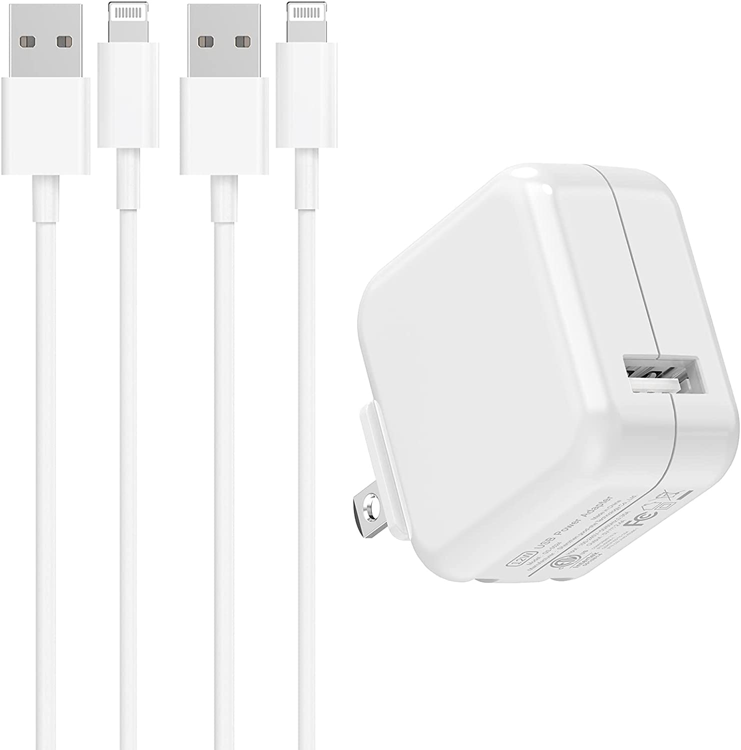 [Apple MFi Certified] iPad Charger, Veetone 2.4A 12W USB Power Rapid Wall Charger Foldable Portable Travel Plug&2 Pack 6.6FT Lightning to USB Fast Charge Data Sync Cord for iPhone 12/11/XS/XR/X 8/iPad