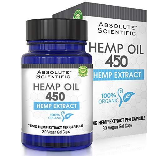 Hemp Oil Capsules for Pain, Anxiety & Stress Relief – 30 Caps 450mg, 100% Organic Hemp Oil – Natural Anti-Inflammatory…