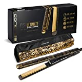 Corioliss C3 Ultimate Titanium Hair Styling Iron, Gold Paisley , Professional Hair Straightener, Curl, Flick, Negative Ion Hair Care, Anti-Static Anti-Frizz, Travel pouch included