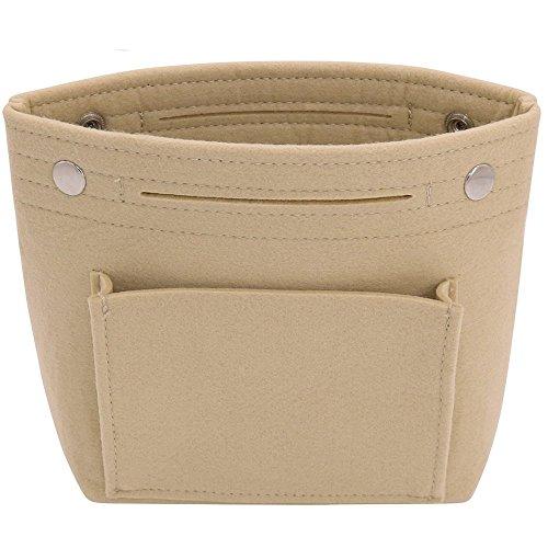 VANCORE Felt Tote Handbag Purse Pocketbook Organizer Insert Divider Shaper Bag in Bag (Mini,Beige)