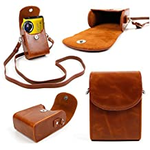 """DURAGADGET Fujifilm Compact Camera Case - Stylish Faux Leather Protective Case / Bag with Additional Detachable Carry Strap in 'Vintage' Brown for Fujifilm AX650, Fujifilm XF1 /Blk 12MP Digital Camera w/ 3"""" LCD, Fujifilm FinePix XP80, Fujifilm X-A2, Fujifilm XQ2, Fujifilm FinePix AX655 & Fujifilm FinePix XP70"""