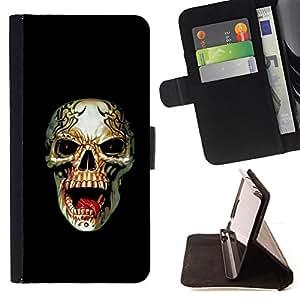 /Skull Market/ - METAL DEATH ROCK ROLL BLACK SKULL For Apple Iphone 5 / 5S - Caja de la carpeta del tir???¡¯???€????€????????&ce