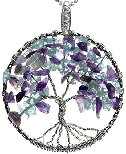 Snow Apple Tree of Life Necklace Mixed Gemstone Jewelry Best Friend Good for Gift