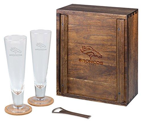 PICNIC TIME NFL Denver Broncos Acacia Wood Pilsner Beer Glass Gift Set for Two