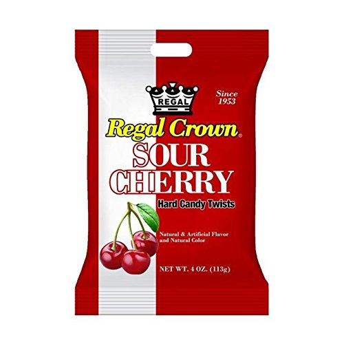 Regal Crown Sour Cherry Hard Candy Peg Bag 4 oz (Pack of ()