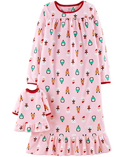 Carter's Girls Microfleece Nightgown and Doll Gown (5T, Pink -