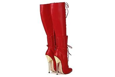 GIARO Brainbuster Red Matte Stiefel in Übergrößen Rot große Damenschuhe