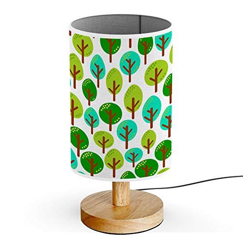 ARTSYLAMP - Wood Base Decoration Desk Table Bedside Light Lamp [ Different Green Mint Trees in Forest ]