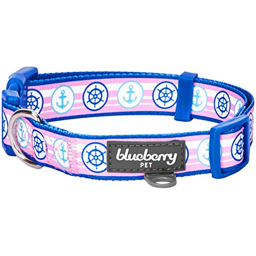 Blueberry Pet 9 Patterns Versatile Bon Voyage Nautical Navy Sailor Designer Dog Collar, Medium, Neck 14.5