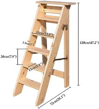 JTD Inicio Familia Utilidades Escaleras de madera plegables, escaleras de servicio pesado Taburete SturSilla con peldaños dy Stairway con pedal ancho: Amazon.es: Bricolaje y herramientas
