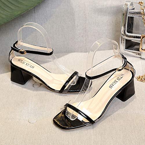 Primavera Largo Tacco Alla Estate Scarpe Fermaglio Liqiqi Nuovo Casual Nero Caviglia Cinturino Eleganti Con Sandali Da Punta Donna Principessa Aperta Trasparente Shopping wOpOHnUIxq