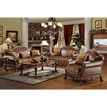 Amazon.com: ACME Dresden Living Room Set with Sofa and Loveseat ...